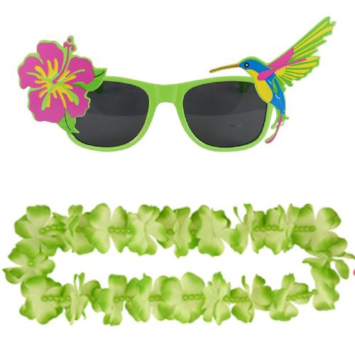 Adult Green Hawaiian Lei & Glasses Fancy Dress Set for Mens & Ladies Summer Costume